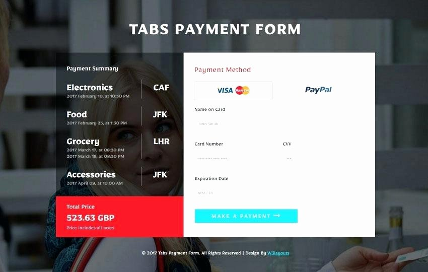 Tabs Payment form Flat Responsive Wid Template Website