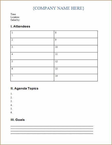 Tabular Meeting Agenda Template