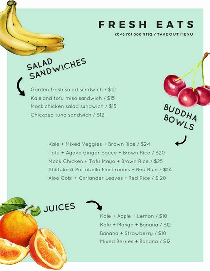 Take Out Menu Templates Canva