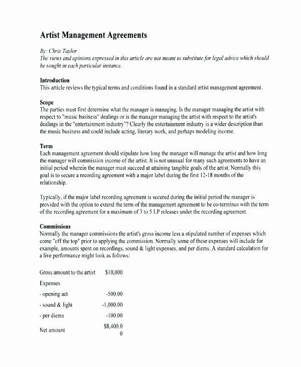 Talent Management Contract Template – Cashinghotnichesfo