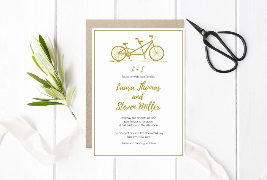 Tandem Bike Wedding Invitation Template Gold Bicycle