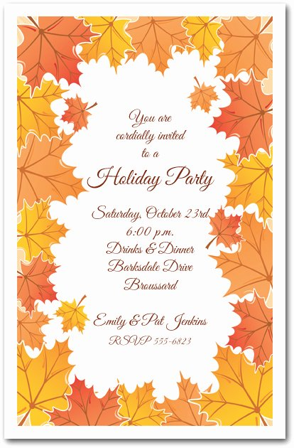 Tangerine Fall Leaves Invitations Autumn Party Invitations