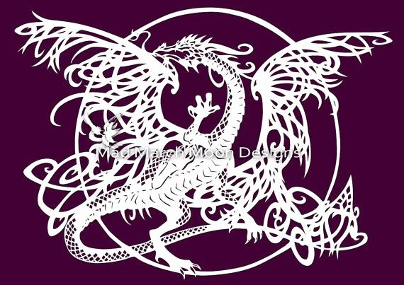 Tangle Dragon Mercial Use Papercut Template Pdf