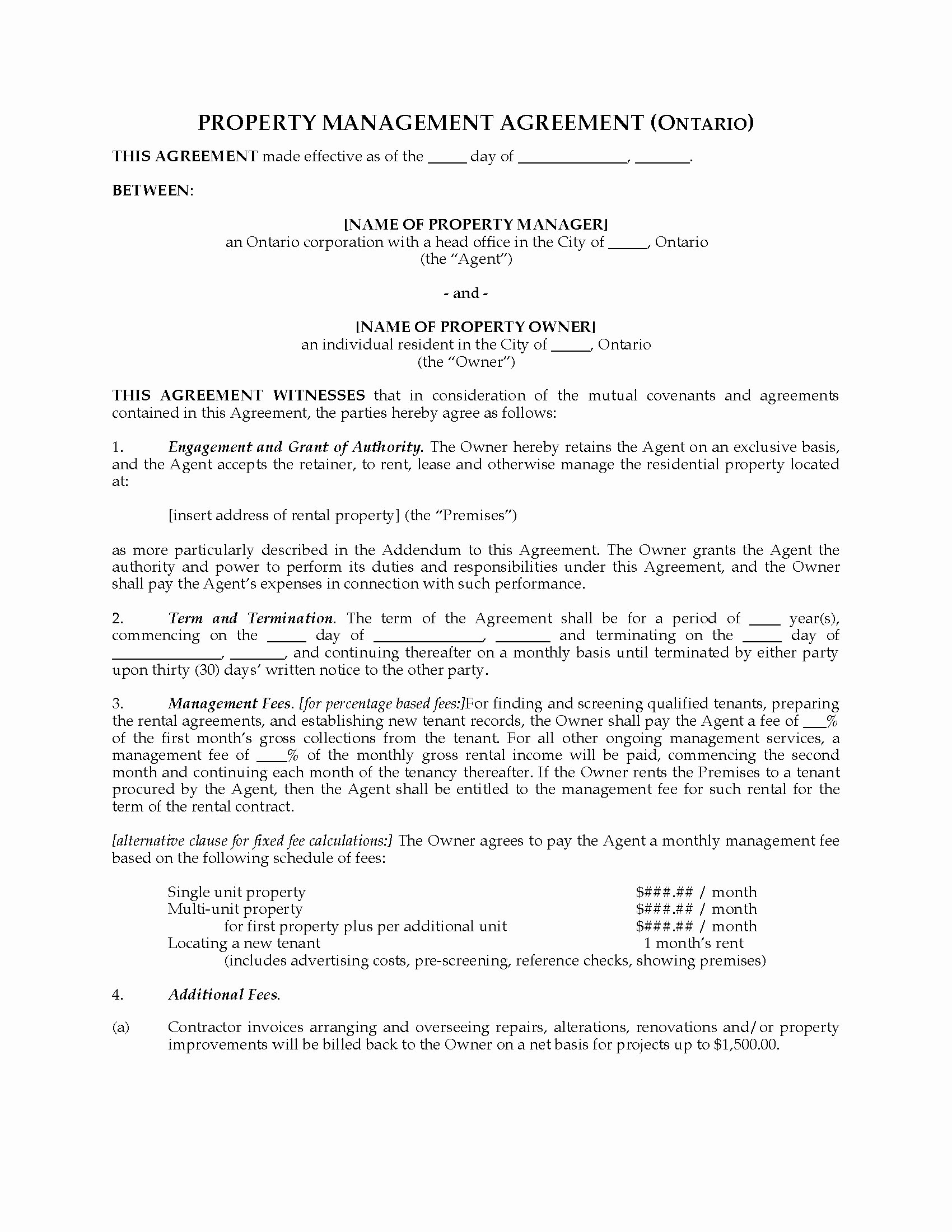 Tario Rental Property Management Agreement