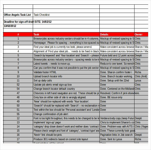 Task Checklist Template – 8 Free Word Excel Pdf