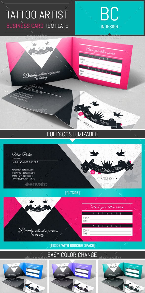 Tattoo Artist Folded Business Card Template by Dogmadesign