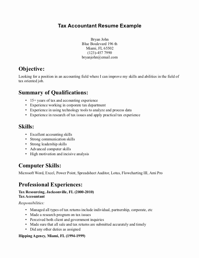 Tax Accountant Resume Sample Tax Accountant Resume