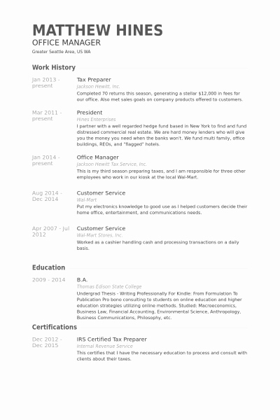 Tax Preparer Resume – Resume Template Ideas
