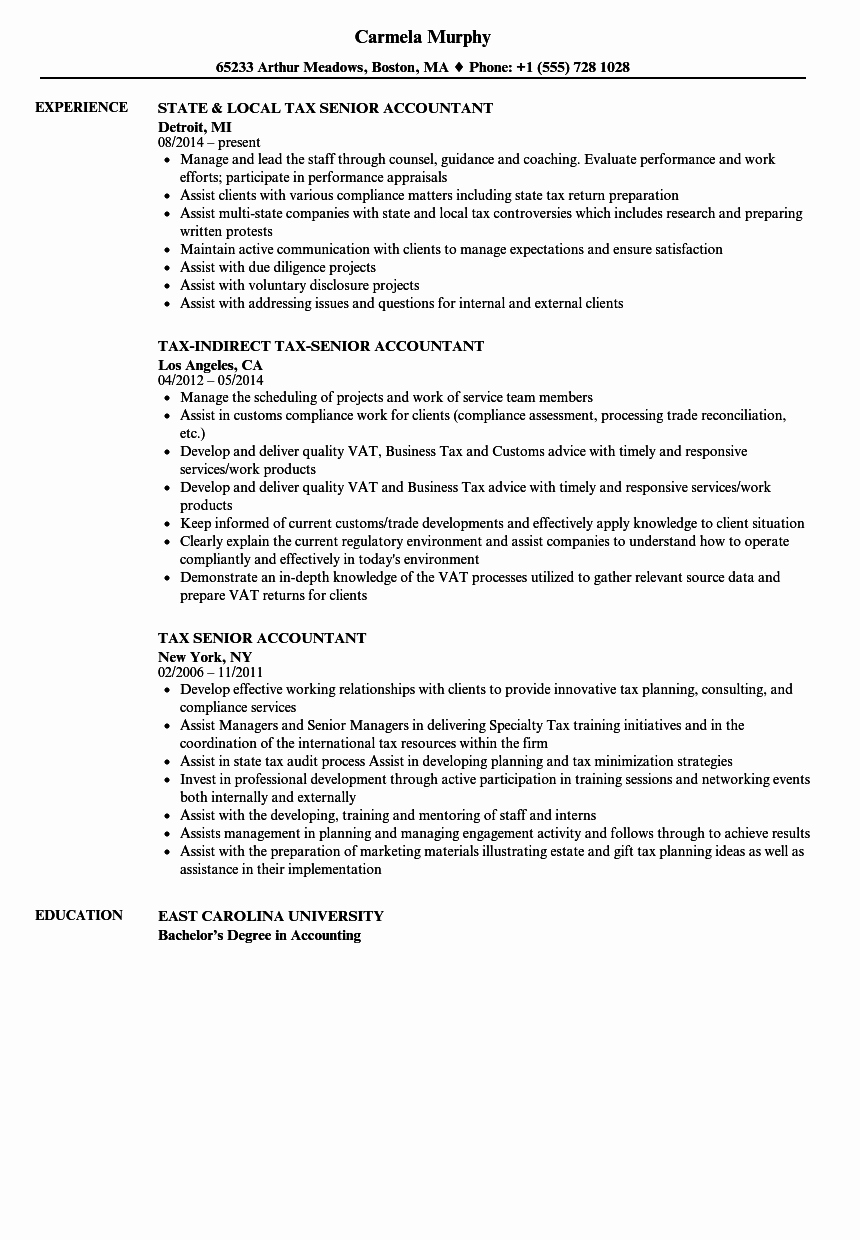 Tax Senior Accountant Resume Samples