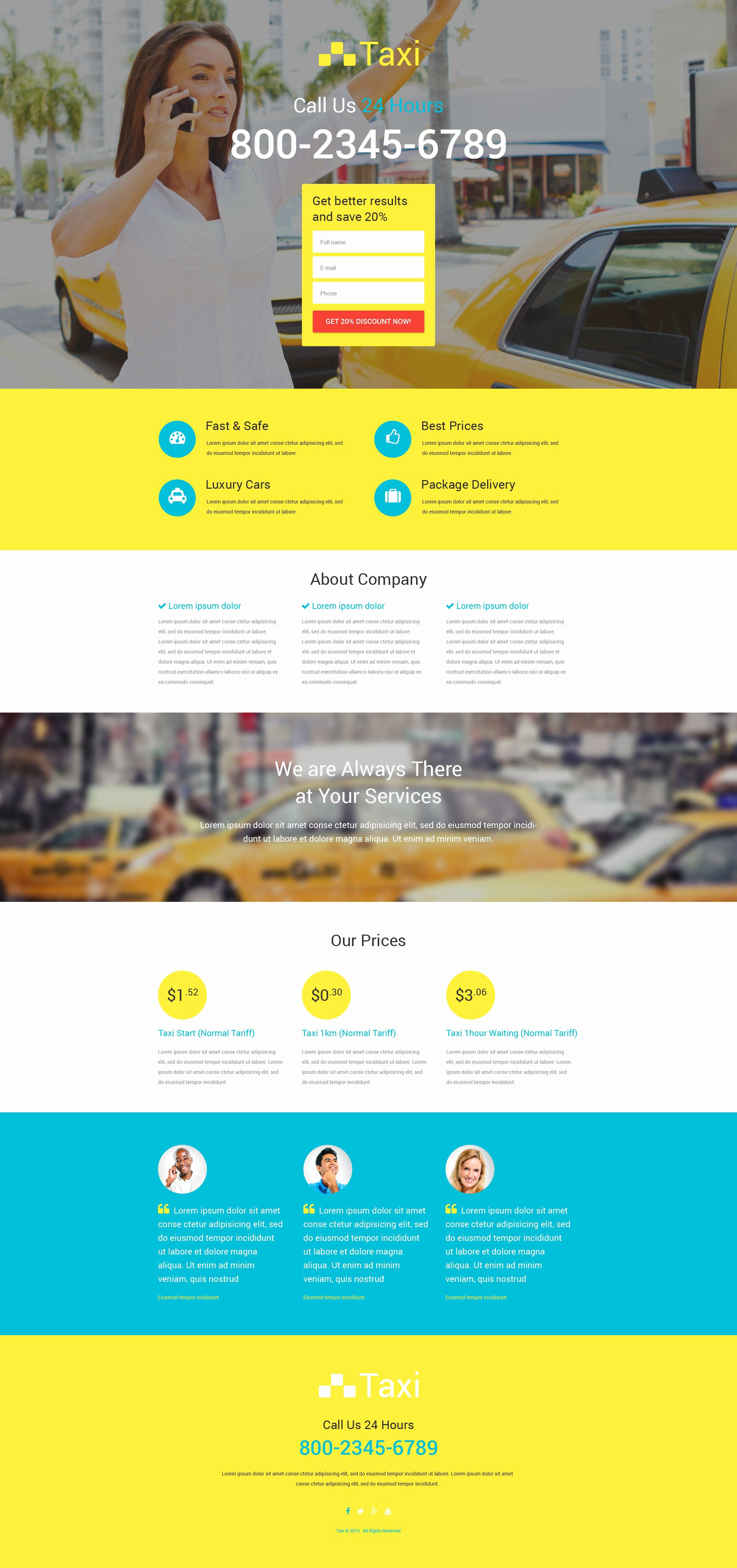 Taxi Responsive Landing Page Template