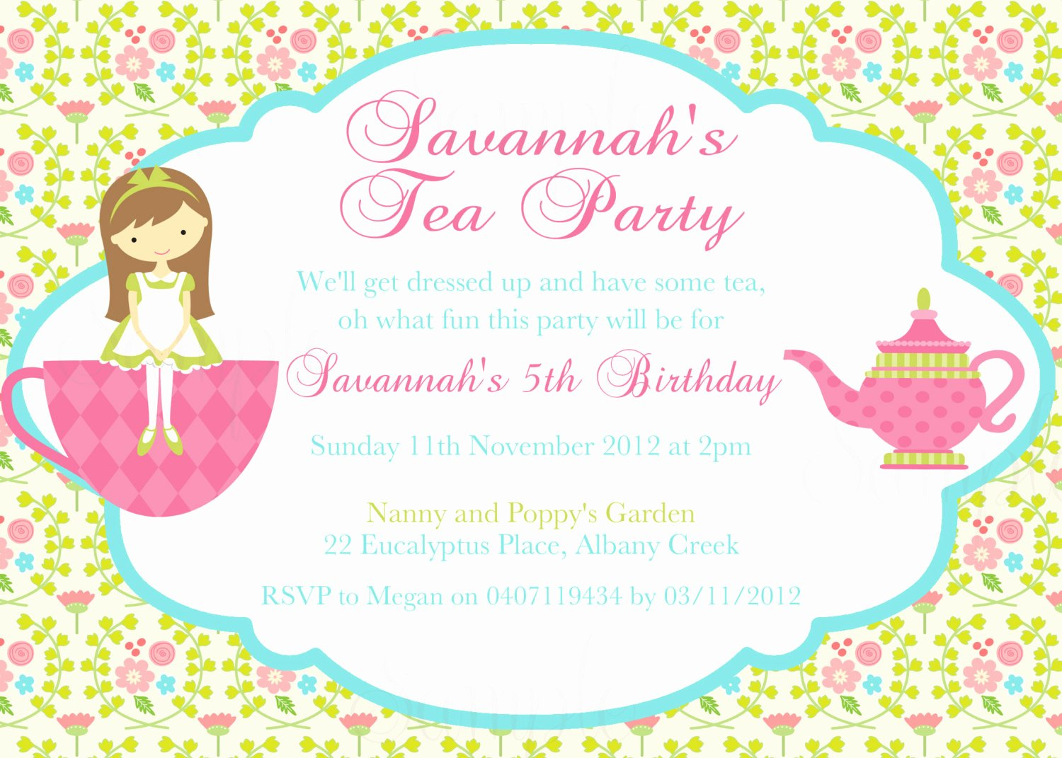Tea Party Birthday theme Printable Invitation and Gift Favor
