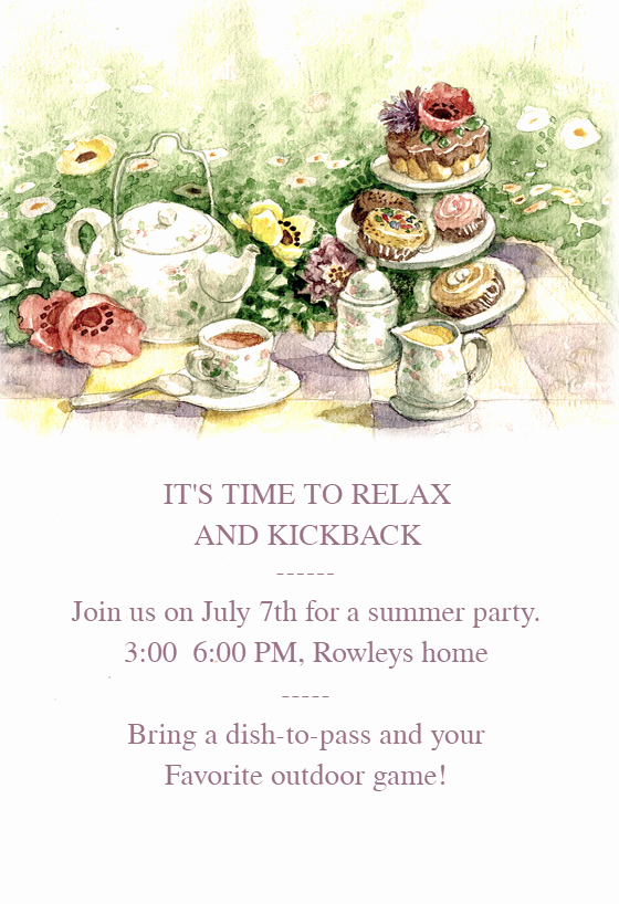 Tea Party Free Dinner Party Invitation Template