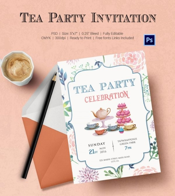 Tea Party Invitation Template 40 Free Psd Eps