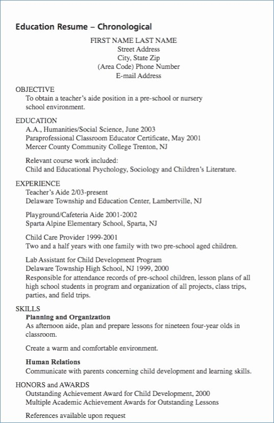 Teacher Aide Job Description Resume