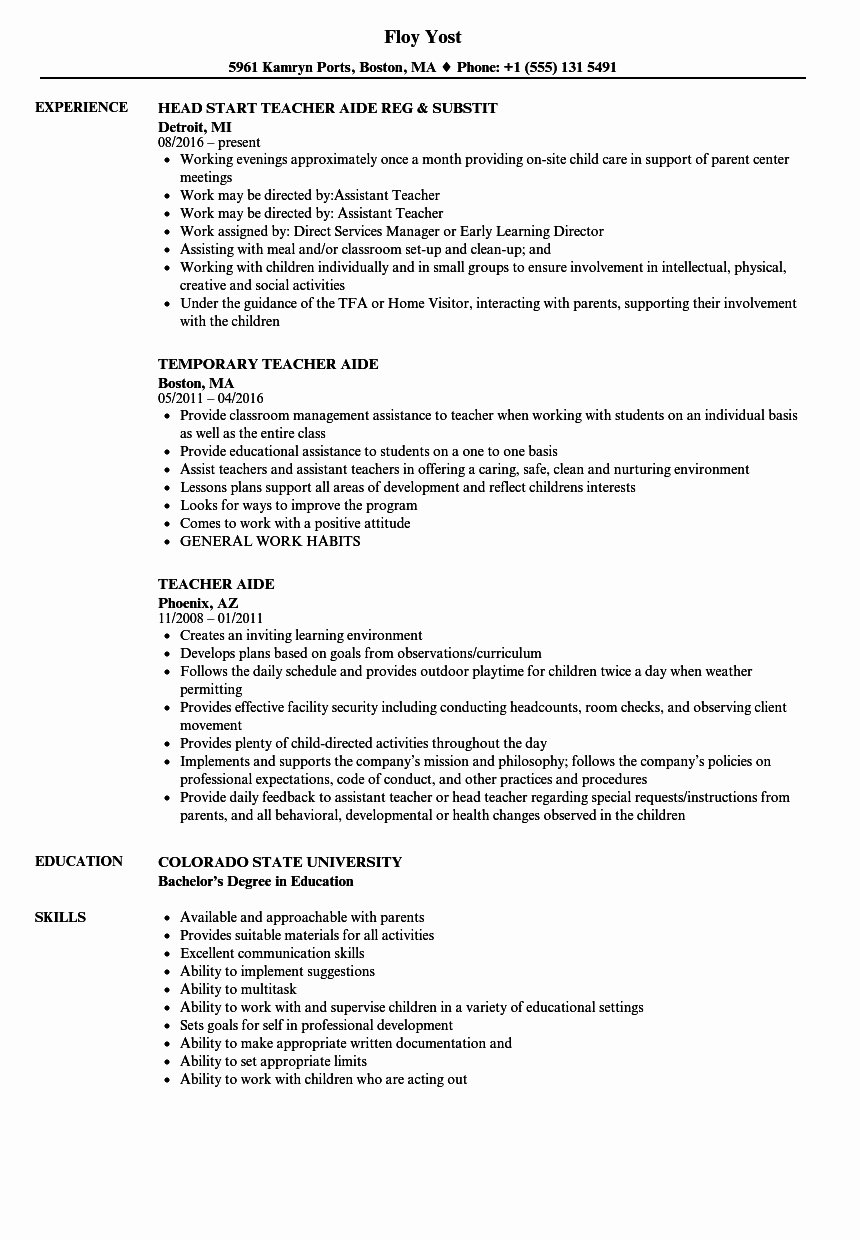 Teacher Aide Resume Samples