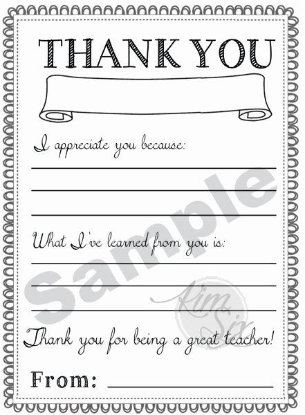 Teacher Appreciation Day Printable Thank You Notes