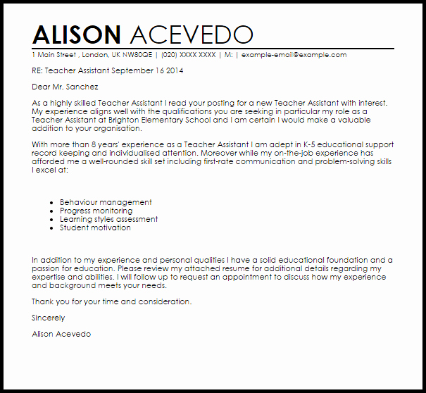 Teacher assistant Cover Letter Sample