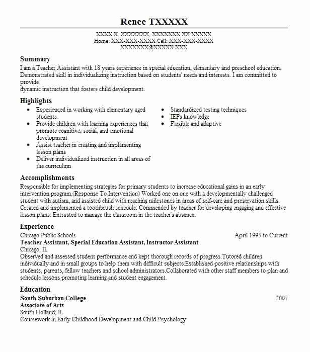 Teacher assistant Resume Best Resume Gallery