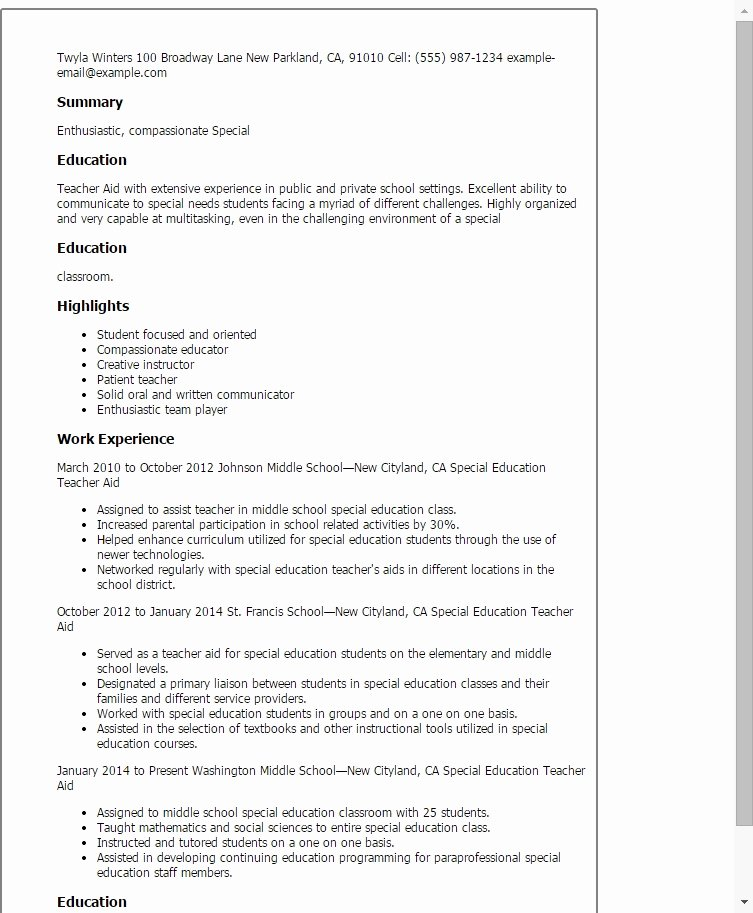 Teacher assistant Resume Example Best Resume Collection