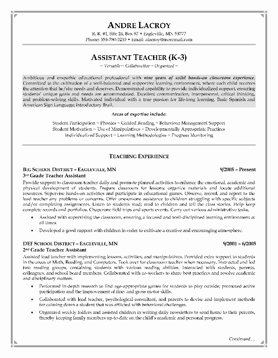 Teacher assistant Resume Example Page 1