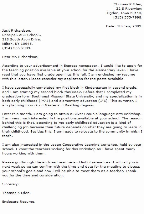 Teacher Cover Letter Examples Cover Letter now