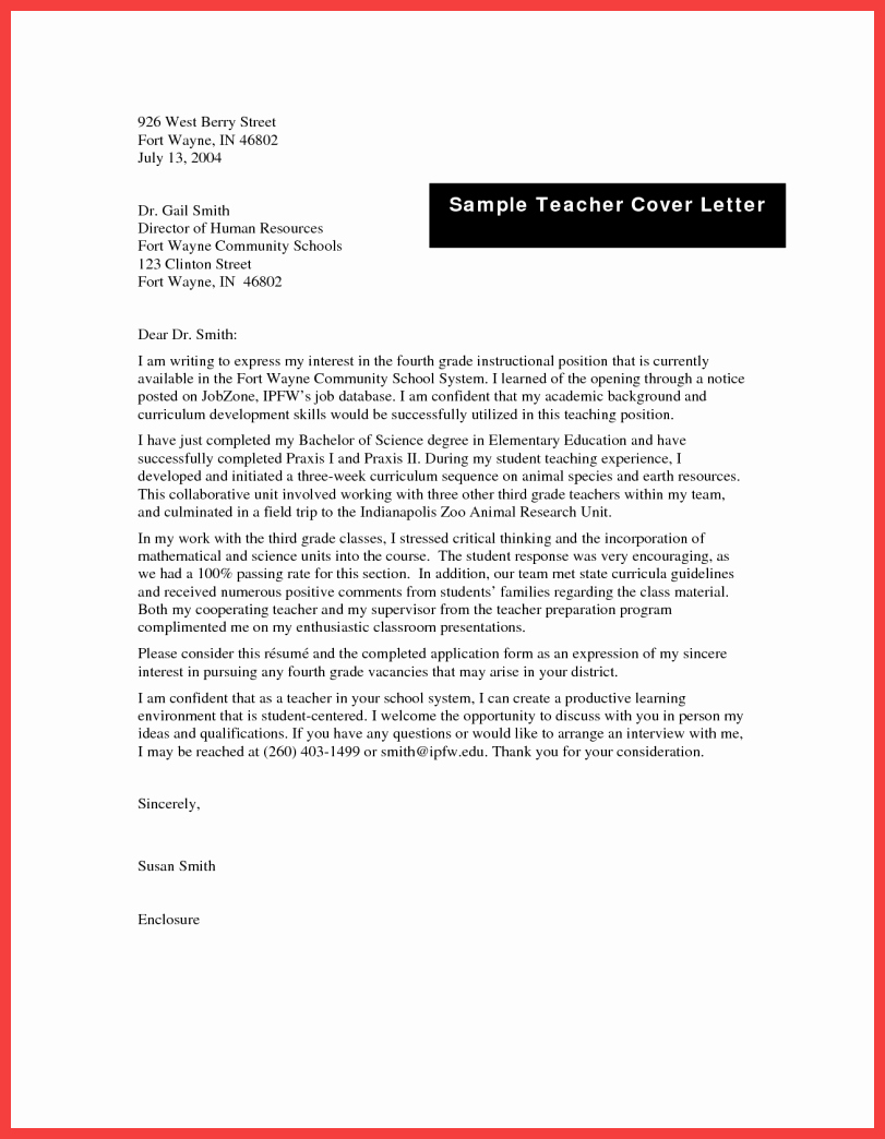 Teacher Cover Letter format
