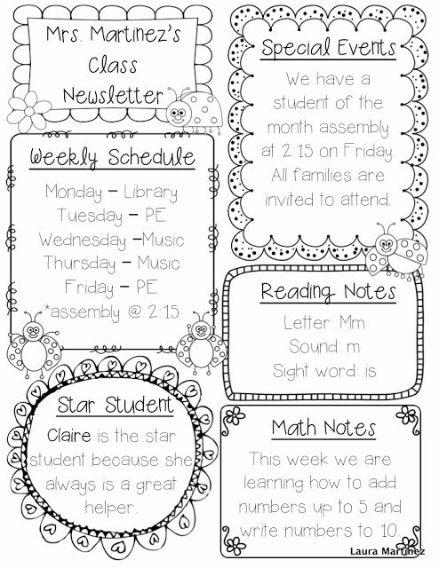 Teacher Laura Editable Class Newsletter Template