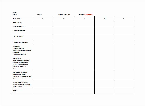 Teacher Lesson Plan Template 8 Free Sample Example