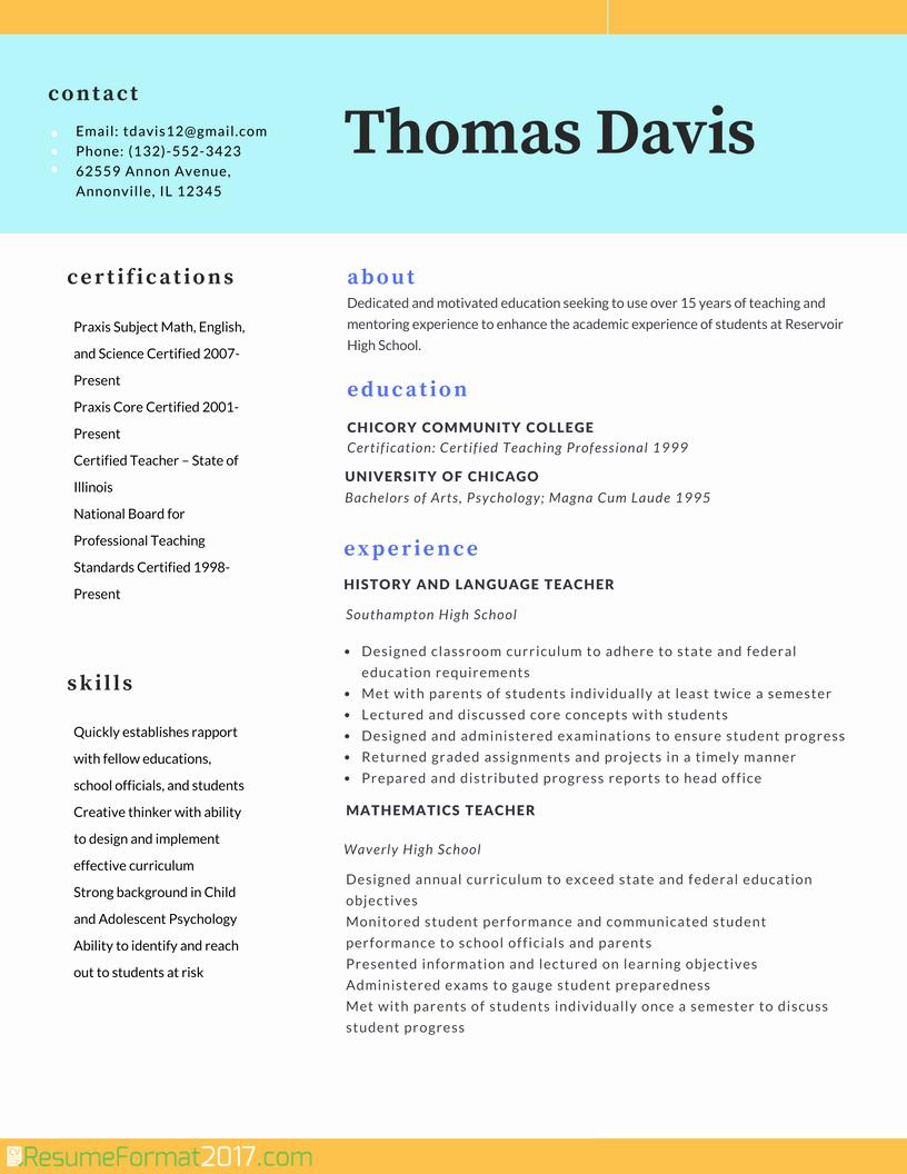 Teacher Professional Resume format 2018