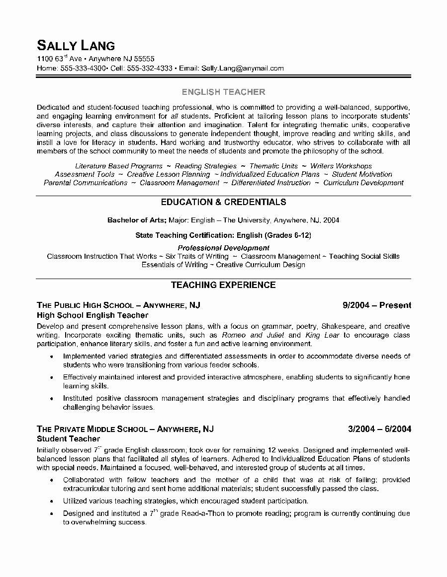 Teacher Resume English Teacher Resume Sample Teacher