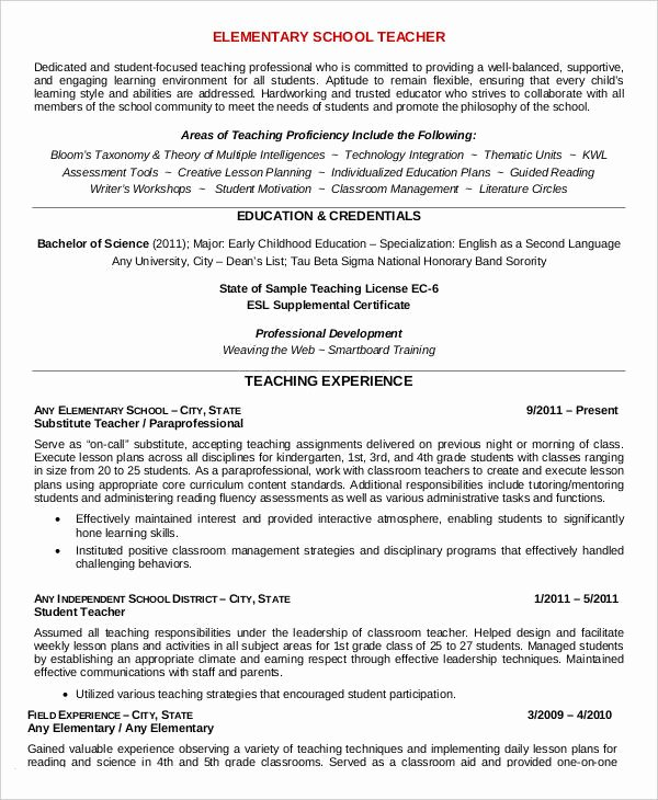 Teacher Resume Sample 32 Free Word Pdf Documents
