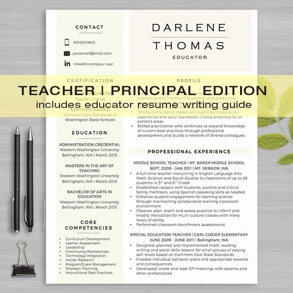 Teacher Resume Template for Ms Word 1 & 2 Page by