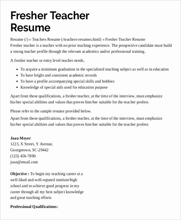 Teacher Resume with No Experience Best Resume Collection