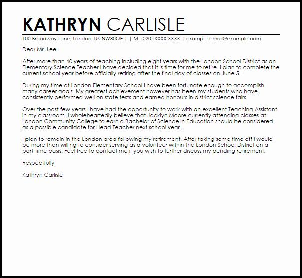 Teacher Retirement Letter Example