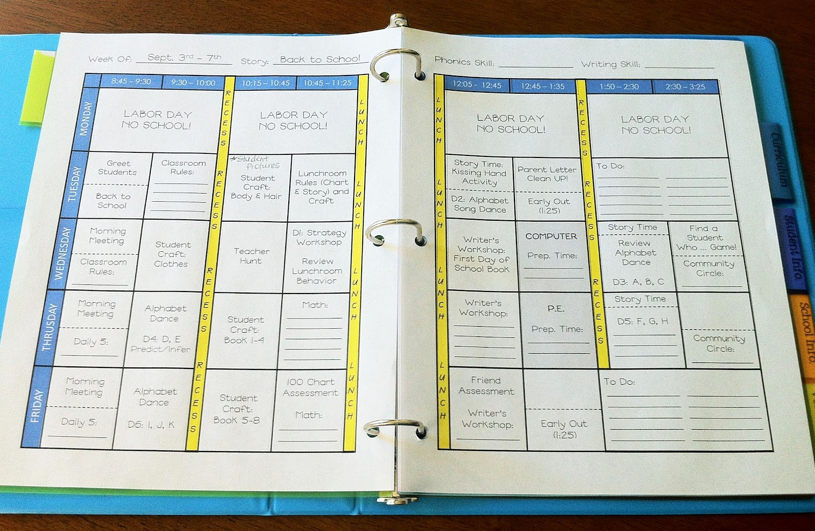 Teacher Weekly Planner Template Templates Data