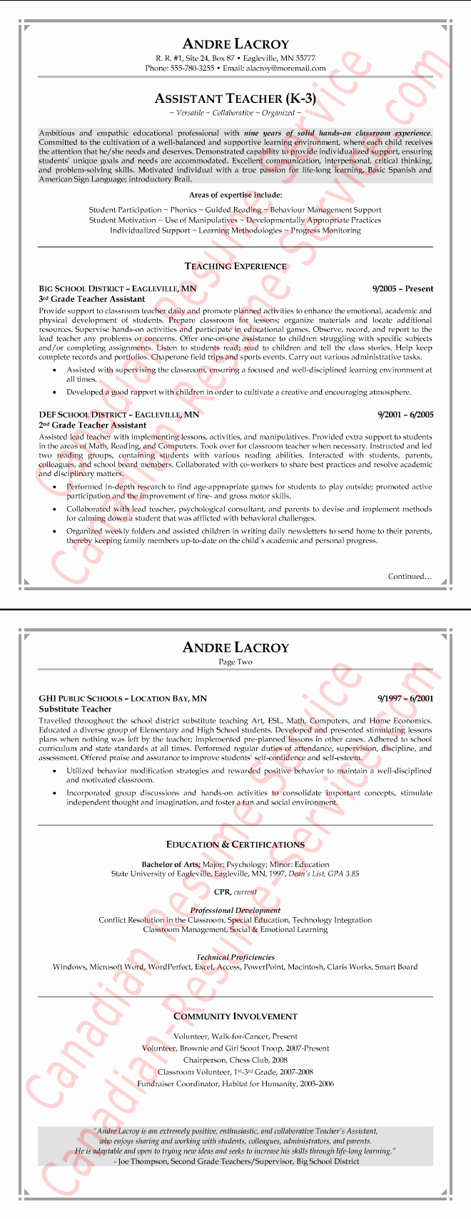 Teaching assistant Resume Example Teacher Sample