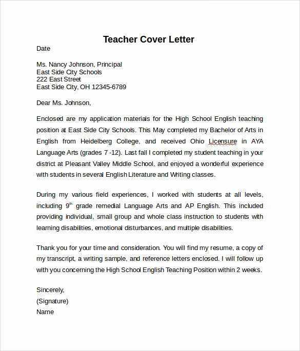 Teaching Cover Letters Samples Teacher Cover Letter