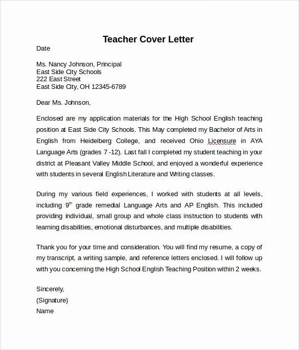 Teaching Cover Letters Samples Teacher Cover Letter