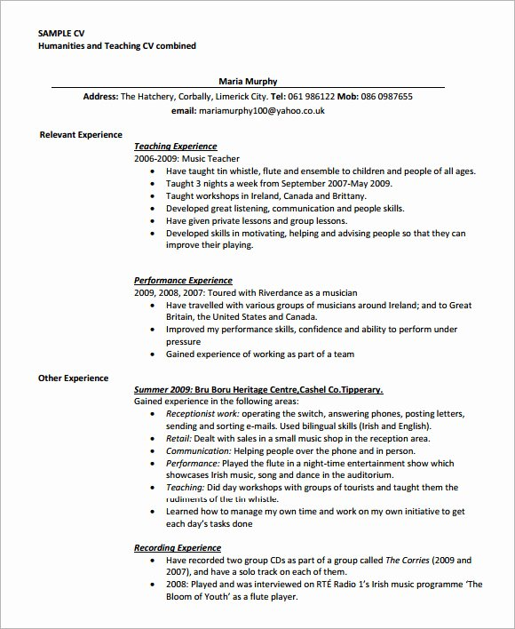 Teaching Cv Template 9 Download Free Documents In Pdf Word