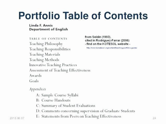 Teaching Portfolio Table Contents Template – Argose