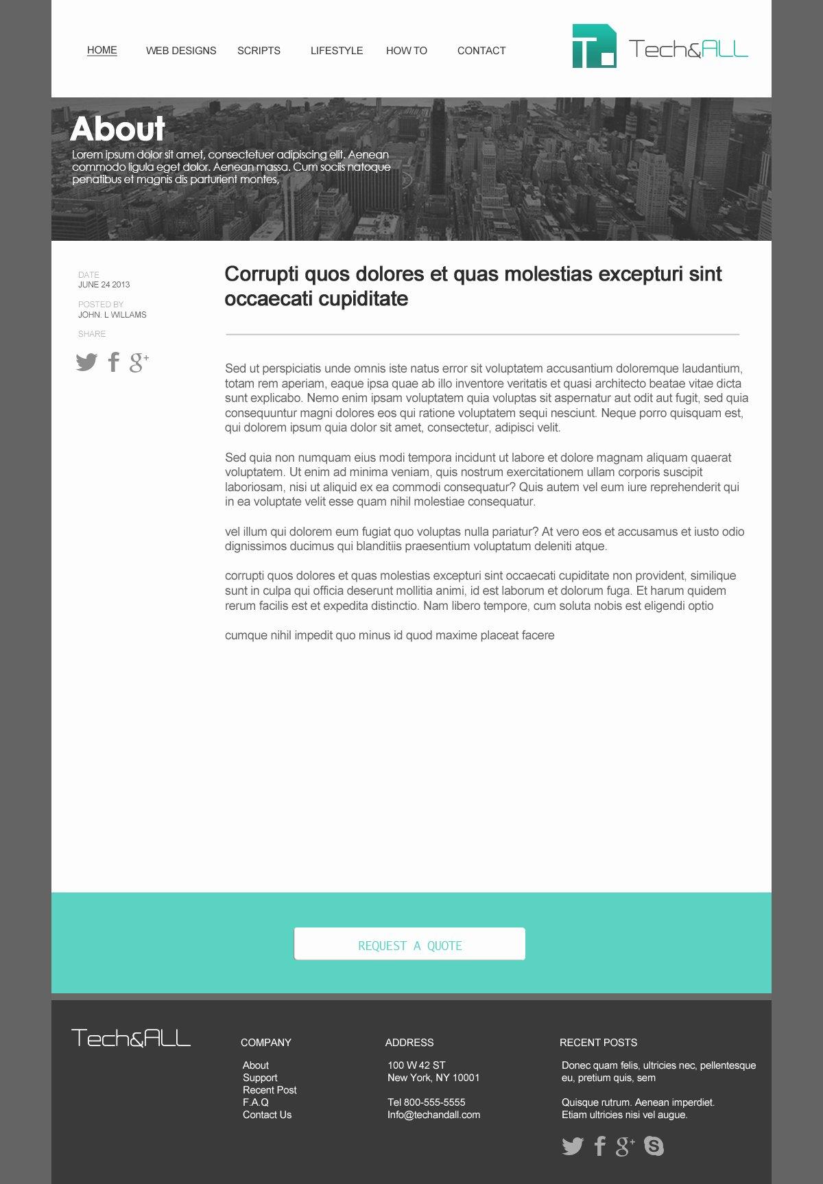 Teal Simple Website Template Psd