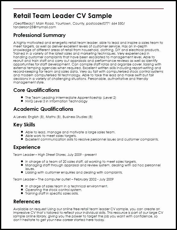 Team Lead Job Description for Resume Resume Ideas