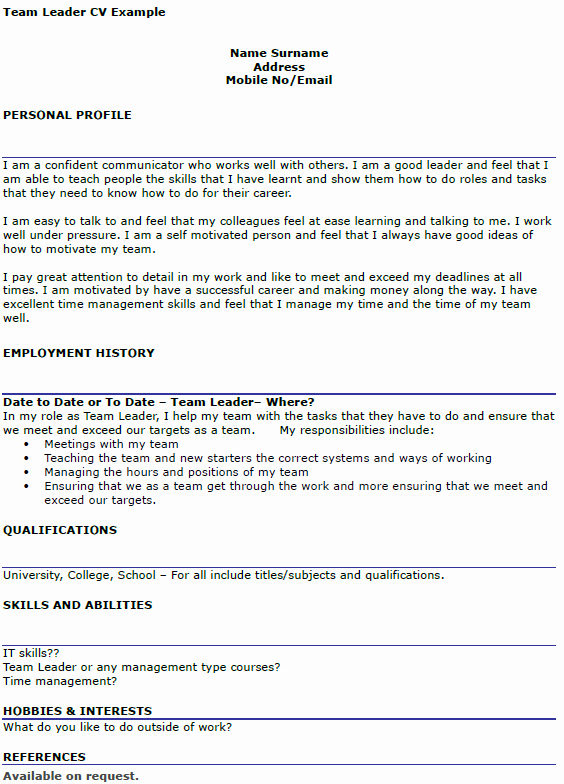 Team Leader Cv Example Icover