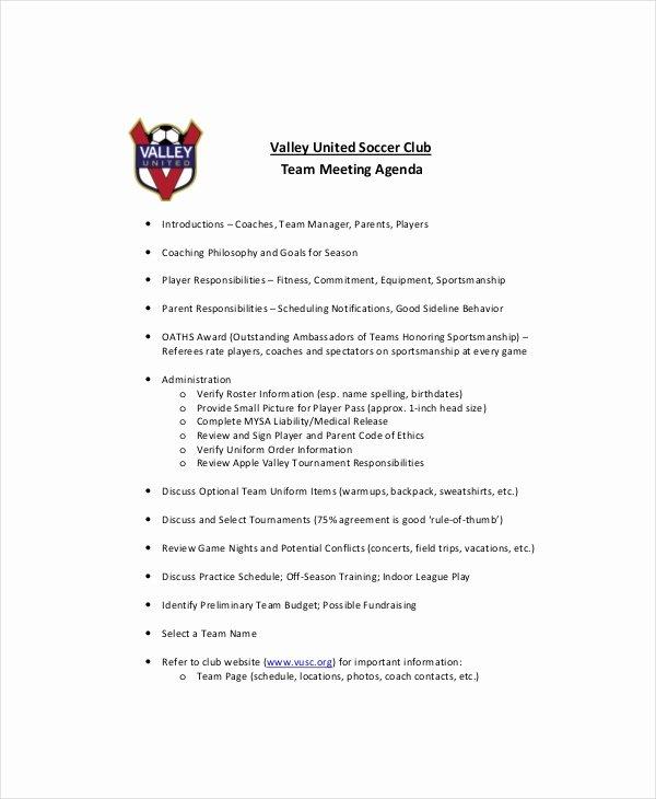 Team Meeting Agenda Template – 10 Free Word Pdf