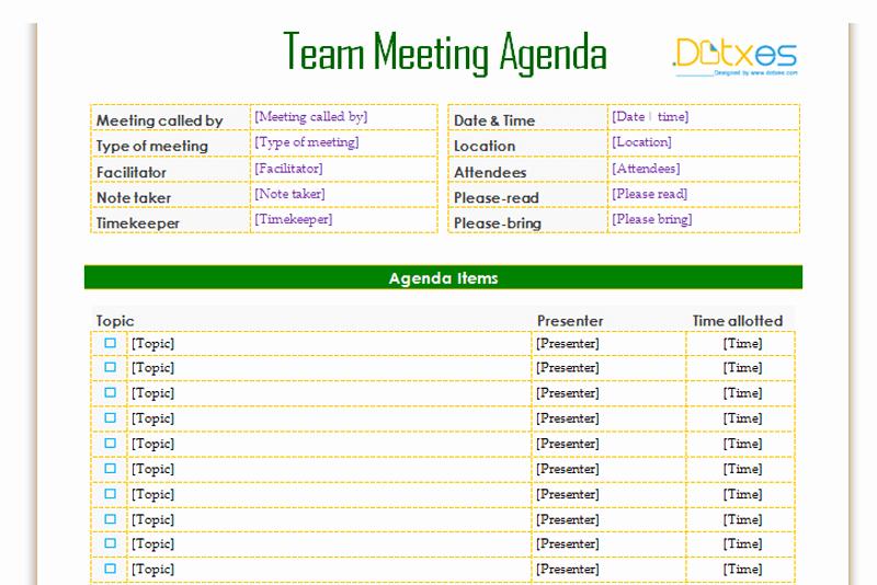 Team Meeting Agenda Template Informal Dotxes