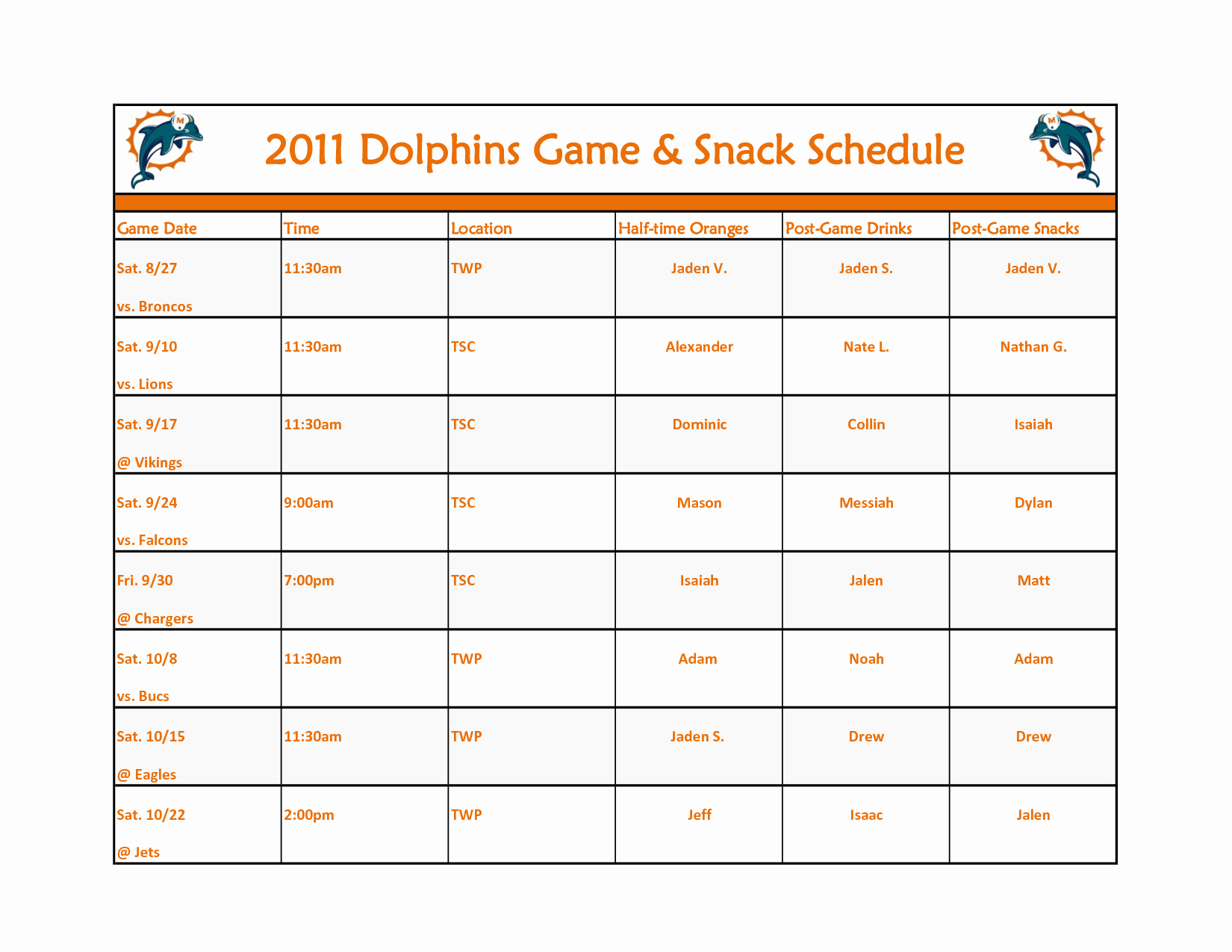 Team Snack Schedule Evolist