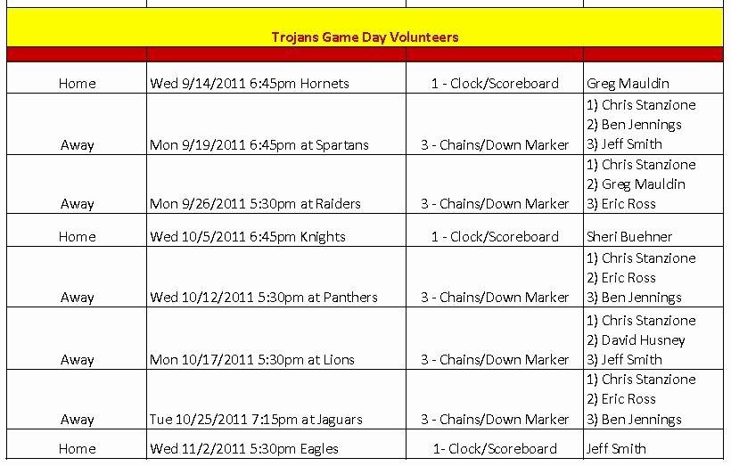 Team Snack Schedule Evolist
