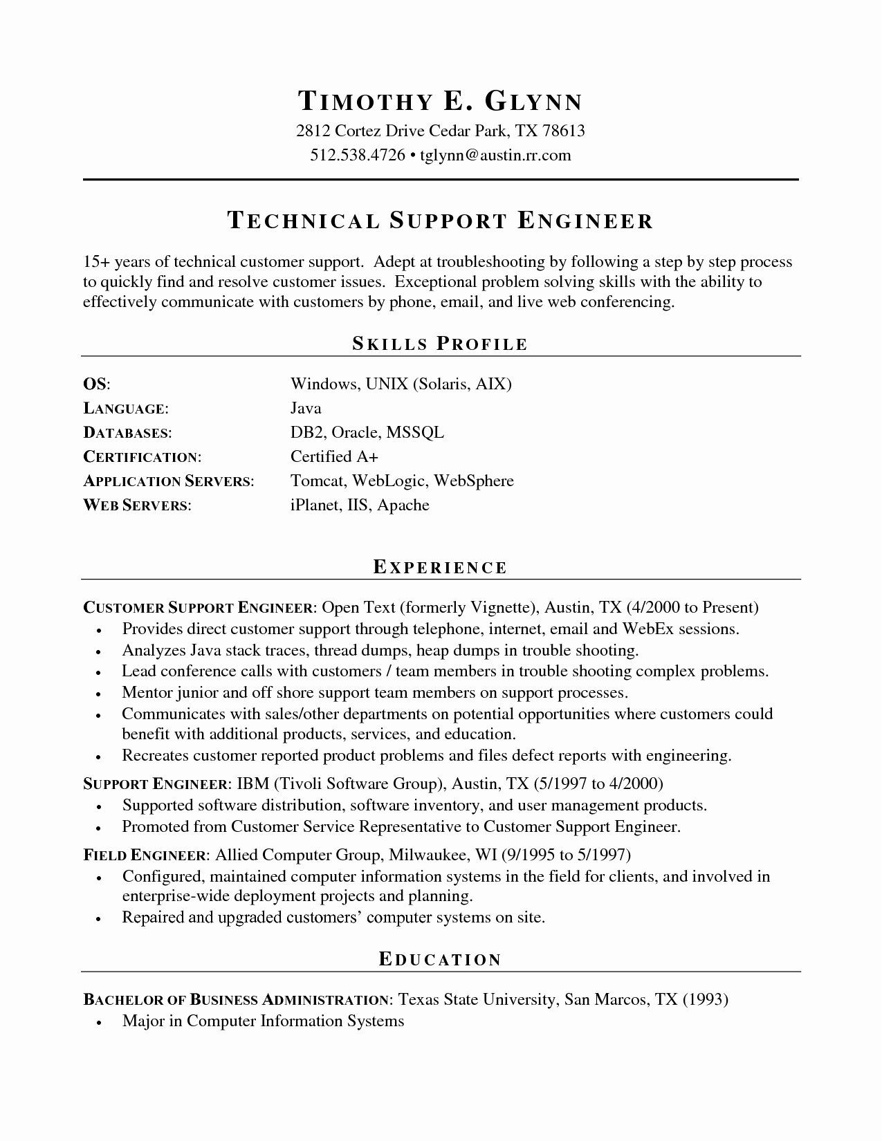 Technical Qualifications Resume Resume Ideas