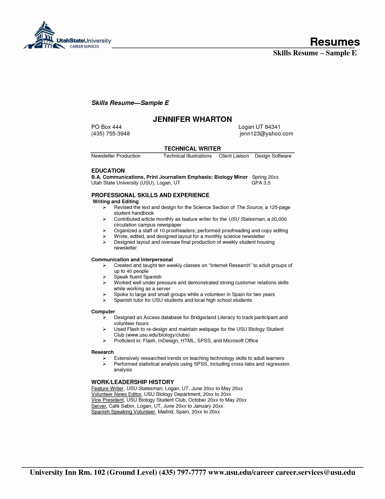 Technical Skills Resume Human Pdf for Examples