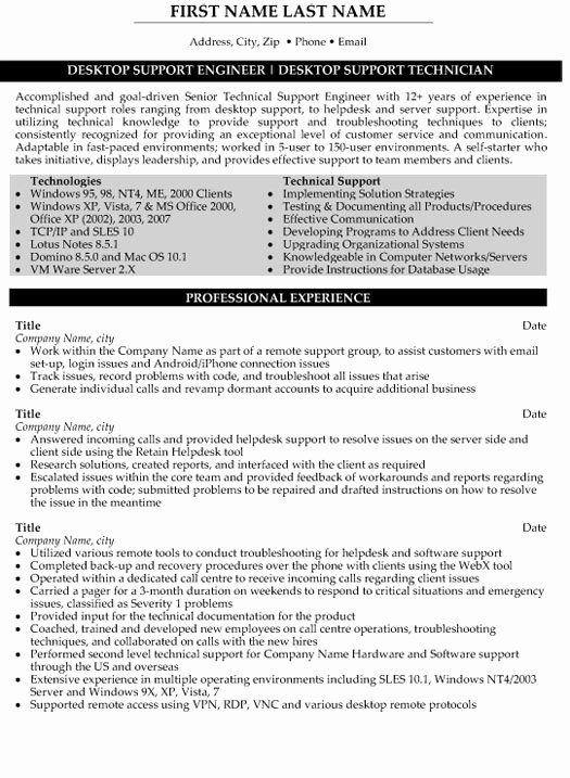 Technical Support Engineer Resume Sample & Template